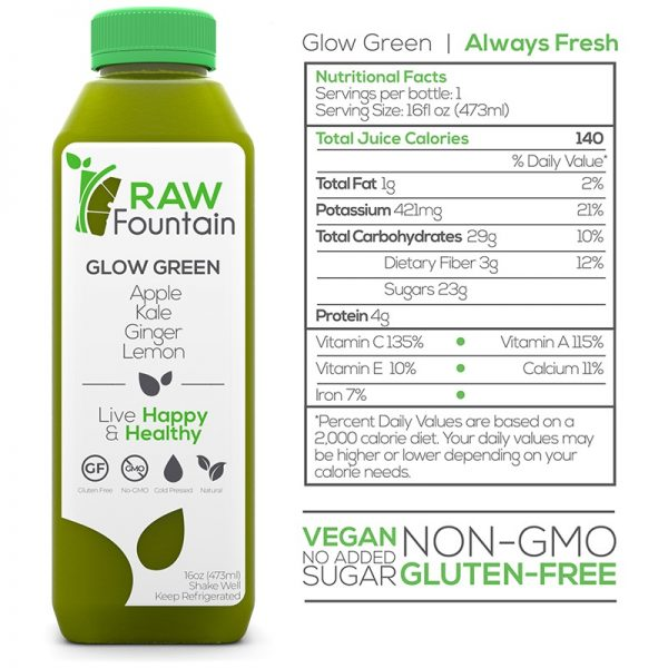 Glow Green Raw Cold Pressed Juice Cleans