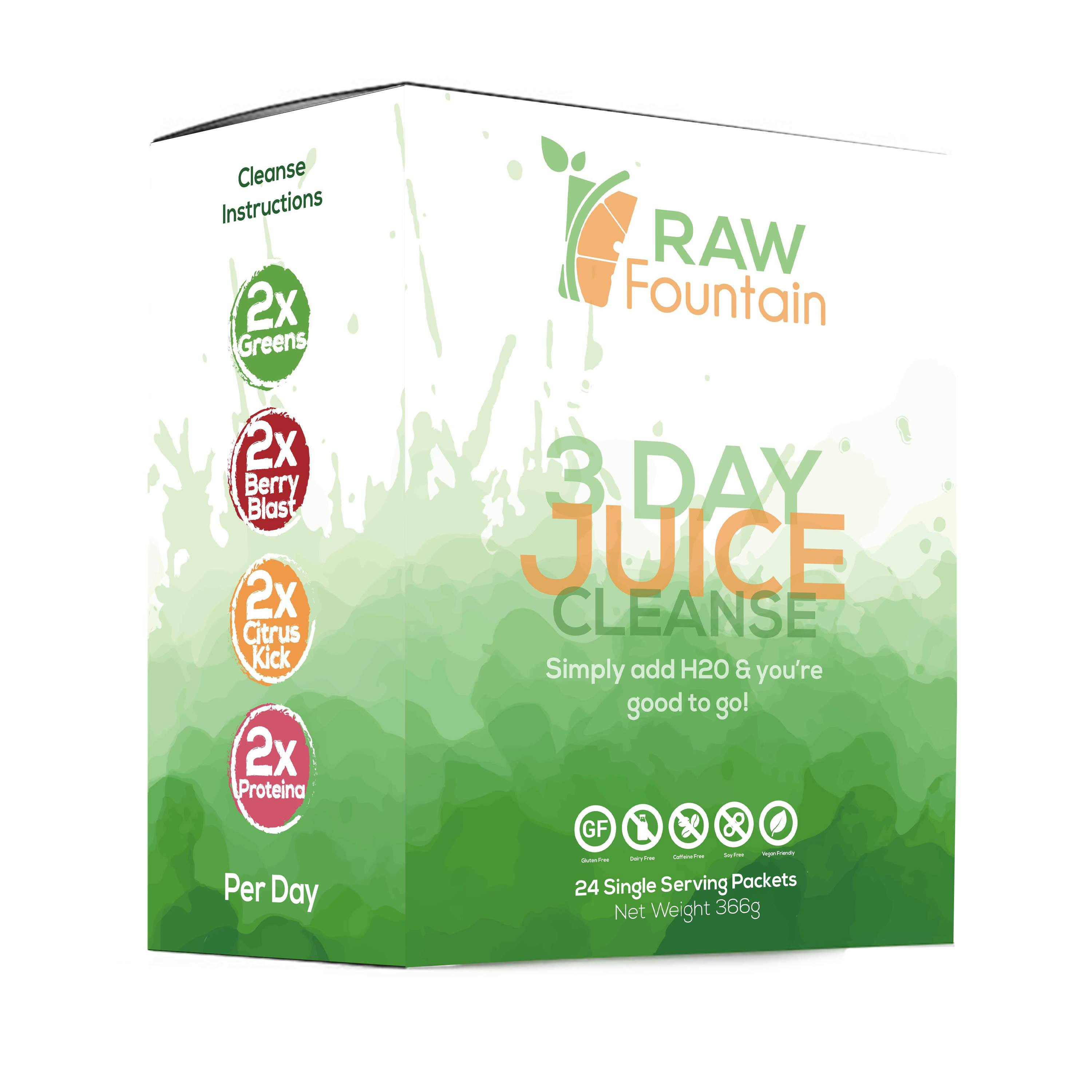 3 Day Juice Cleanse Detox 24 Single Serving Powder Packets Portable Travel Vegan Friendly Weight Loss Program All Natural Green Supplement